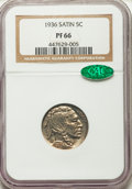 Proof Buffalo Nickels, 1936 5C Type One -- Satin Finish PR66 NGC. CAC....