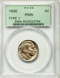 Proof Buffalo Nickels, 1936 5C Type One -- Satin Finish PR65 PCGS....