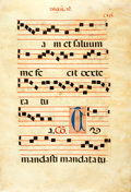 Books:Prints & Leaves, Antiphonal Manuscript Leaf on Vellum. Ca. 1500s. Large leaf fromchoir book or antiphoner containing 5 bars of music on each...