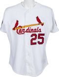 Baseball Collectibles:Uniforms, 1997 Mark McGwire Game Worn St. Louis Cardinals Jersey With Special MDA Patch & Team Letter. ...