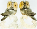 Books:Furniture & Accessories, [Bookends]. Matching Pair of Marble Hand-Carved Owls. Ca. 1960s.Some mild toning to finish with a tiny scuff to one. Each m...(Total: 2 Items)