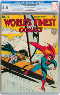 Golden Age (1938-1955):Superhero, World's Finest Comics #12 (DC, 1943) CGC VG+ 4.5 Off-white to white pages....