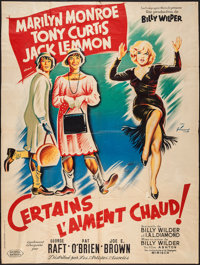 """Some Like It Hot (United Artists, 1959). French Grande (47"""" X 63"""") Style B. Comedy"""