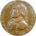 1792 CENT Washington President Cent, Eagle and Stars Reverse. T Below Bust. Lettered Edge. XF40 NGC. CAC. Baker-21B, Bre...