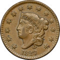 Large Cents, 1827 1C N-5, R.2, MS63 Brown NGC. CAC. Our EAC Grade AU55....