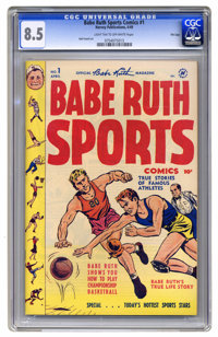Babe Ruth Sports Comics #1 File Copy (Harvey, 1949) CGC VF+ 8.5 Light tan to off-white pages. OK, what's odd about this...