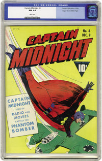 Captain Midnight #3 Mile High pedigree (Fawcett, 1942) CGC NM 9.4 White pages. Overstreet is quick to point out the clas...