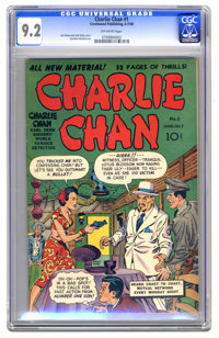 Charlie Chan #1 (Crestwood/Headline, 1948) CGC NM- 9.2 Off-white pages. The combination of Simon and Kirby cover art, a...