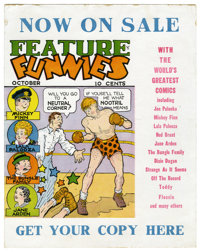 """Feature Funnies #1 and Promotional Display Card (Chesler, 1937) Condition of comic book: GD+. Before Harry """"A""""..."""