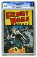 Golden Age (1938-1955):Horror, Front Page Comic Book #1 File Copy (Harvey, 1945) CGC NM- 9.2 Creamto off-white pages. This supernatural/horror cover by Bo...