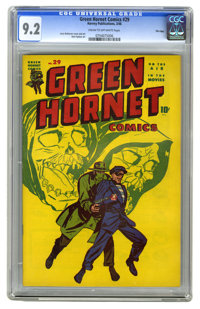 Green Hornet Comics #29 File Copy (Harvey, 1946) CGC NM- 9.2 Cream to off-white pages. Jerry Robinson of Batman fame got...
