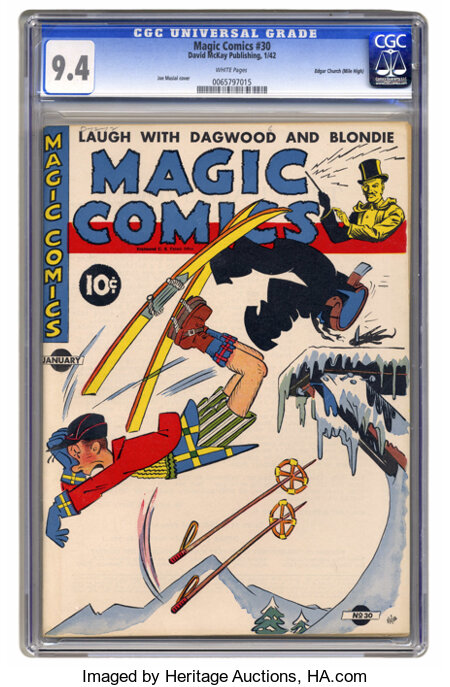 Magic Comics #30 Mile High pedigree (David McKay Publications, 1942) CGC NM 9.4 White pages. Blondie and Mandrake star. Over...