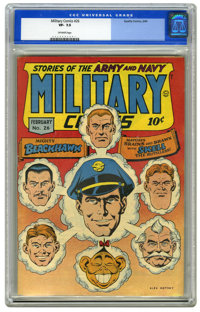 Military Comics #26 (Quality, 1944) CGC VF- 7.5 Off-white pages. Featuring Blackhawk. Alex Kotzky cover. Overstreet 2006...