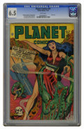 Golden Age (1938-1955):Science Fiction, Planet Comics #51 (Fiction House, 1947) CGC FN+ 6.5 White pages.Skull cover. Artists include Murphy Anderson and George Eva...