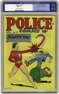 Golden Age (1938-1955):Science Fiction, Police Comics #41 Mile High pedigree (Quality, 1945) CGC NM+ 9.6Off-white to white pages. The star of the show, Plastic Man...