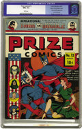 Golden Age (1938-1955):Superhero, Prize Comics #13 Mile High pedigree (Prize, 1941) CGC NM+ 9.6 White pages. This great Mile High offering is one of only two ...