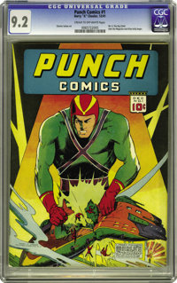 Punch Comics #1 (Chesler, 1941) CGC NM- 9.2 Cream to off-white pages. This was only the third comic book series for Harr...
