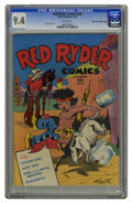 Golden Age (1938-1955):Western, Red Ryder Comics #28 Mile High pedigree (Dell, 1945) CGC NM 9.4 White pages. Little Beaver must need glasses: that's a billy...