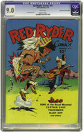 Golden Age (1938-1955):Western, Red Ryder Comics #31 Mile High pedigree (Dell, 1946) CGC VF/NM 9.0 White pages. Little Beaver whoops it up while Red strums ...