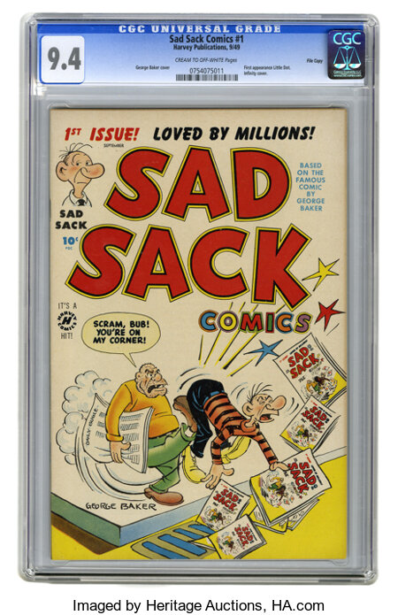Sad Sack Comics #1 File Copy (Harvey, 1949) CGC NM 9.4 Cream to off-white pages. This amazing copy, which has been recently ...