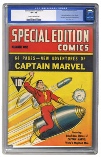Special Edition Comics #1 (Fawcett, 1940) CGC VF+ 8.5 Cream to off-white pages. It's the first comic book devoted entire...