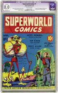 "Golden Age (1938-1955):Science Fiction, Superworld Comics #1 (Hugo Gernsback, 1940) CGC Apparent VF 8.0Slight (P) Off-white pages. This issue is a Gerber ""7"" which..."