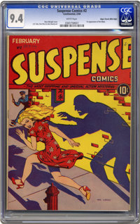 Suspense Comics #2 Mile High pedigree (Continental Magazines, 1944) CGC NM 9.4 White pages. Copies of this title are pri...