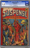 Golden Age (1938-1955):Superhero, Suspense Comics #3 (Continental Magazines, 1944) CGC FR/GD 1.5 Off-white to white pages. This issue has been the object of f...