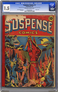 Suspense Comics #3 (Continental Magazines, 1944) CGC FR/GD 1.5 Off-white to white pages. This issue has been the object...