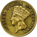 Three Dollar Gold Pieces, 1877 $3 AU58 NGC. CAC....