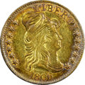 Early Half Eagles, 1806 $5 Round Top 6, 7x6 Stars AU55 NGC. CAC. BD-6, R.2....
