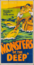 """Movie Posters:Documentary, Monsters of the Deep (Natural Pictures, 1931). Three Sheet (41"""" X 80""""). Documentary.. ..."""