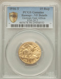 German East Africa, German East Africa: German Colony gold 15 Rupia 1916-T VF Details (Damage) PCGS,...