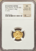 Ancients:Roman Imperial, Ancients: Maurice Tiberius (AD 582-602). AV tremissis (1.48 gm)....