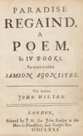 Books:Literature Pre-1900, John Milton. Paradise Regain'd. A Poem. In IV Books. Towhich is added Samson Agonistes. London: J. M[acock] for...