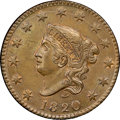 Large Cents, 1820 1C Large Date, N-13, R.1, MS64+ Brown NGC. CAC. Our EAC Grade MS62. N-13 is the most available Matron Head variety in ...