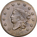 """1826 1C N-1, R.2, MS64+ Brown NGC. CAC. Our EAC Grade AU55. Ex: """"Col."""" E.H.R. Green. Two small dashes east of..."""