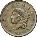 """1832 1C Medium Letters, N-2, R.3, MS64 Brown NGC. CAC. Our EAC Grade AU50. Ex: """"Col."""" E.H.R. Green. A crack th..."""