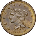 1841 1C N-2, R.2, MS64 Brown NGC. CAC. Our EAC Grade MS60. Grellman Die State a with clear die lines through the ON in O...