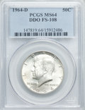 Kennedy Half Dollars, 1964-D 50C Double Die Obverse, FS-108 MS64 PCGS. PCGS Population(17/10). Mintage: 156,205,440....