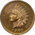Proof Indian Cents, 1901 1C PR65 Red and Brown NGC. CAC....