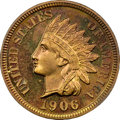 Proof Indian Cents, 1906 1C PR66 Red and Brown NGC. CAC....