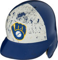 Baseball Collectibles:Others, 1980's Paul Molitor Game Worn Milwaukee Brewers Helmet. ...