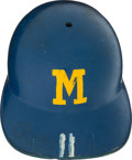 Baseball Collectibles:Others, 1970's Milwaukee Brewers Game Worn Helmet. ...