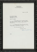 Autographs:Letters, 1962 Branch Rickey Signed Letter With Jackie Robinson Content....
