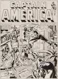 Original Comic Art:Covers, Joe Simon Captain America Comics #10 Cover RecreationOriginal Art (1984)....