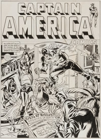 Joe Simon Captain America Comics #10 Cover Recreation Original Art (1984)