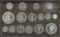 Patterns, Purple Morocco Case for 16-Piece 1868 Aluminum Pattern U.S. Coinage Proof Set....
