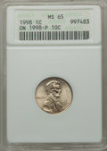 Errors, 1998 1C Lincoln Cent -- Struck on a 1998-P 10C -- MS65 ANACS....