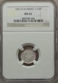 British West Indies, British West Indies: British Colony 1/16 Dollar 1822 MS62 NGC,...